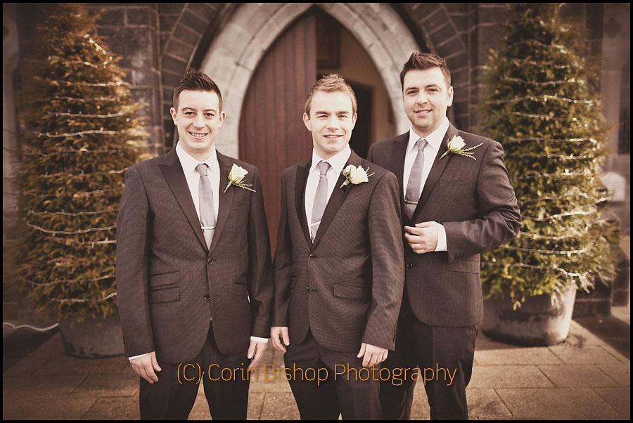 Portrait of the Groom and Grooms Men including Westlife Markus Feehily