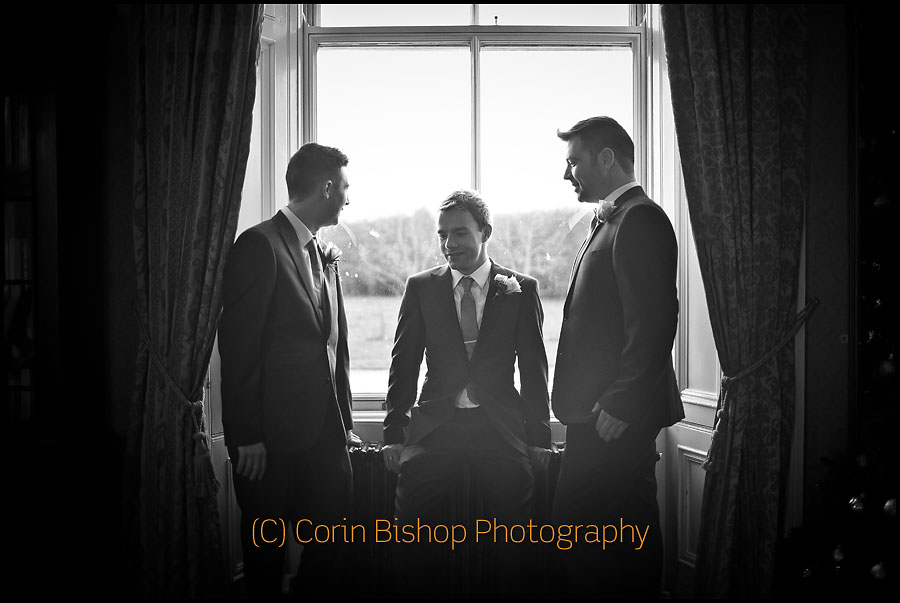 Grooms men portrait in window. With Markus Feehily