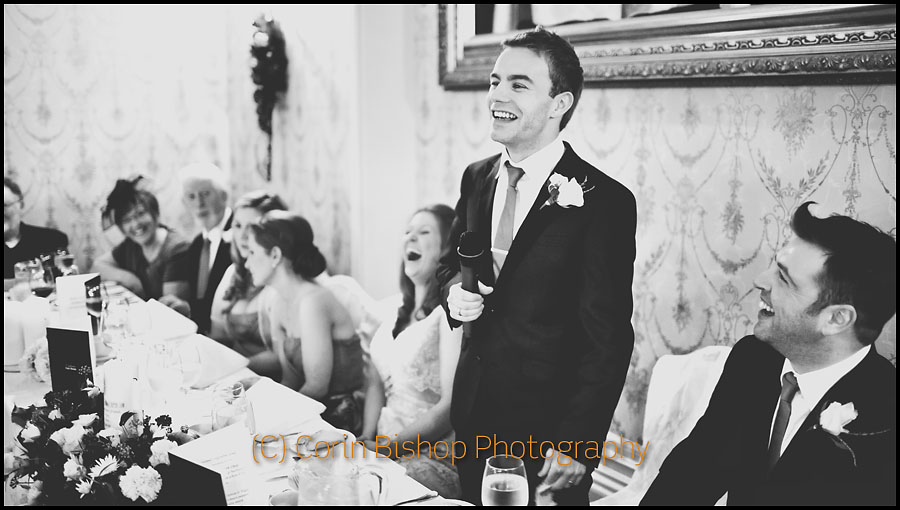 Photography of the wedding speeches. Markus Feehily laughing