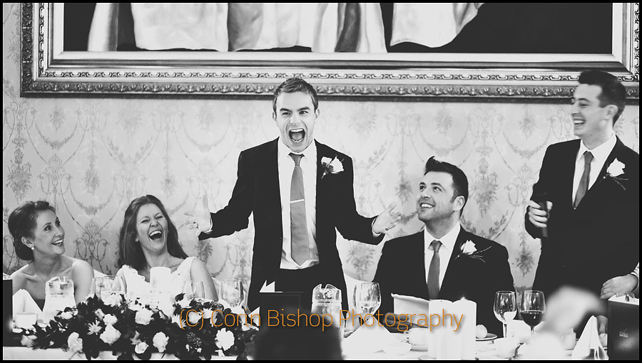 Wedding Speeches - Groom making angry face! Markus Feehily looks on