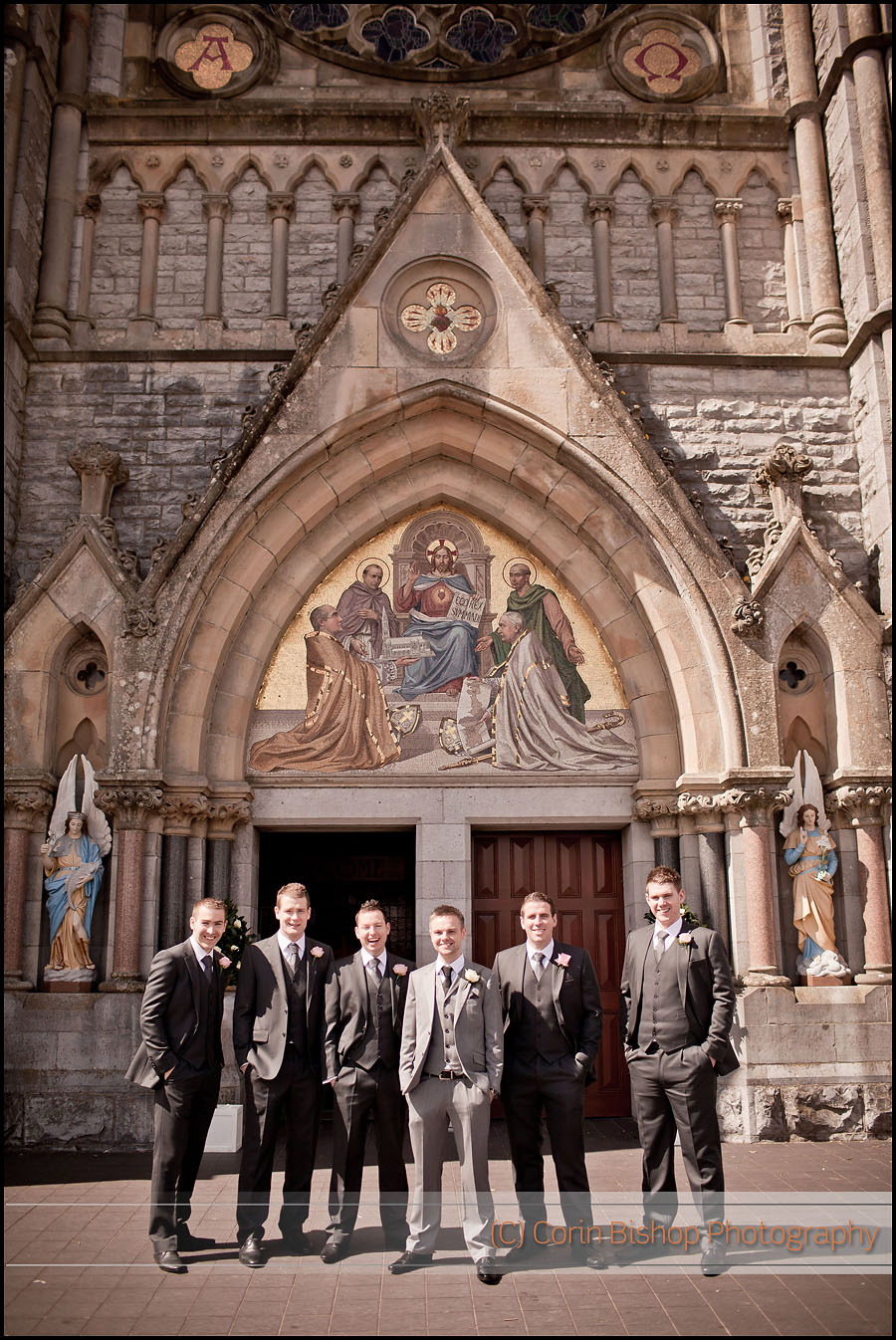 Photography of the Groomsmen outside Roscommon Cathedral