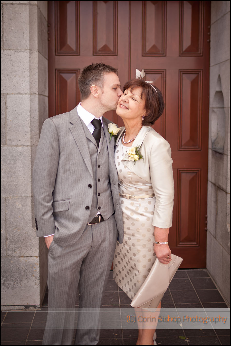 Kiss for Mum from the groom