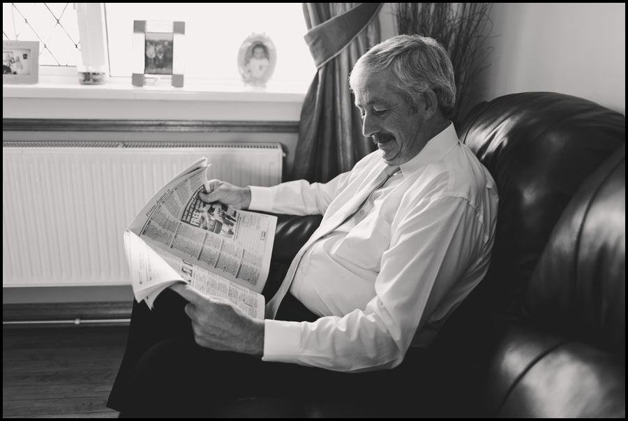 Father of the Bride Reading the Newspaper