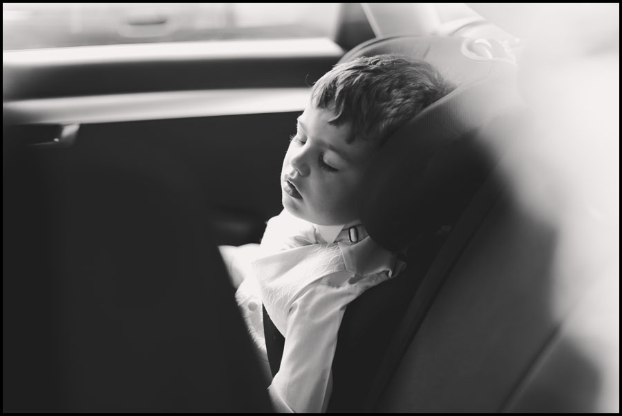 Pageboy asleep in the car
