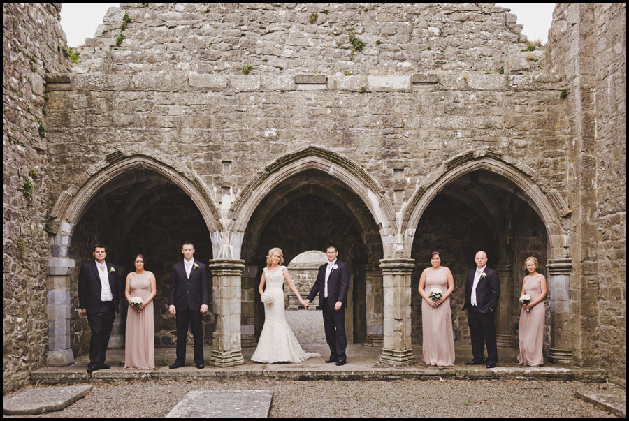 Bridal Party in the arches at the Abbey