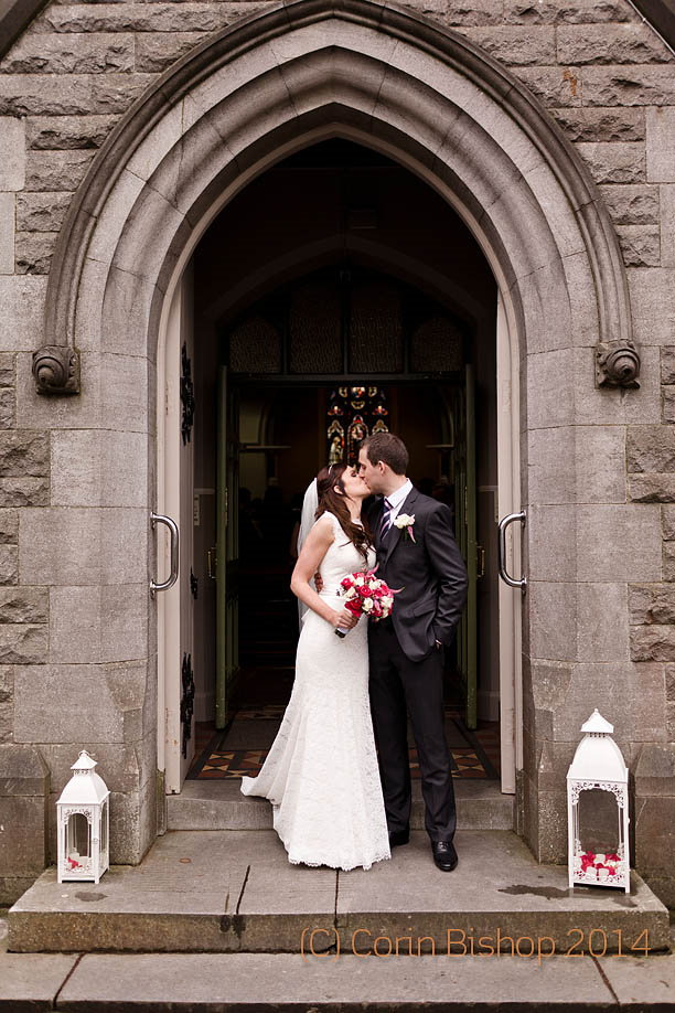 Bride and Groom outside the Castleknock Church