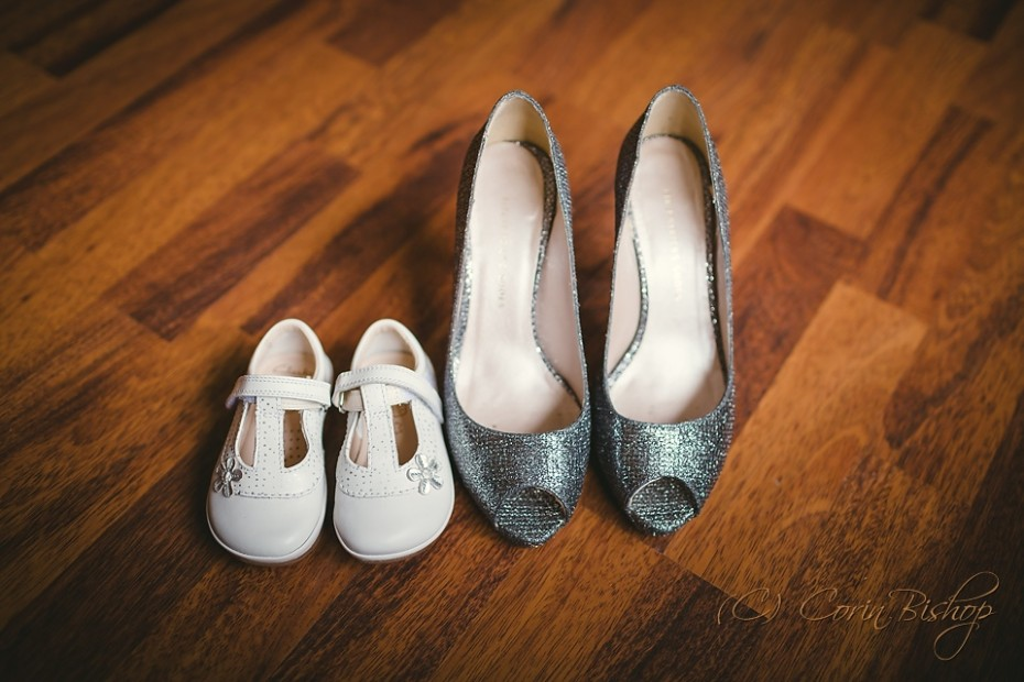 Bride's and Flowergirls wedding shoes together