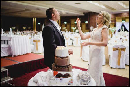 Sharon and Paul - Ballinasloe Wedding. Throwing Chocolate Cake