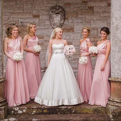 bride and her bridesmaids at castle leslie estate