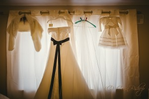 Bride and Flowergirls wedding dress hanging up