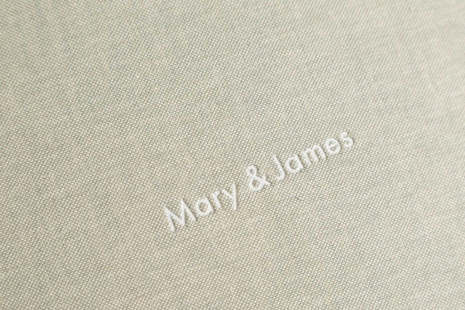 QtAlbums - close up of the excellent wedding album embossing