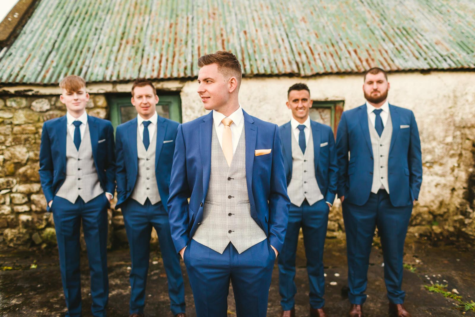 Groom outside the old farm shed Athlone