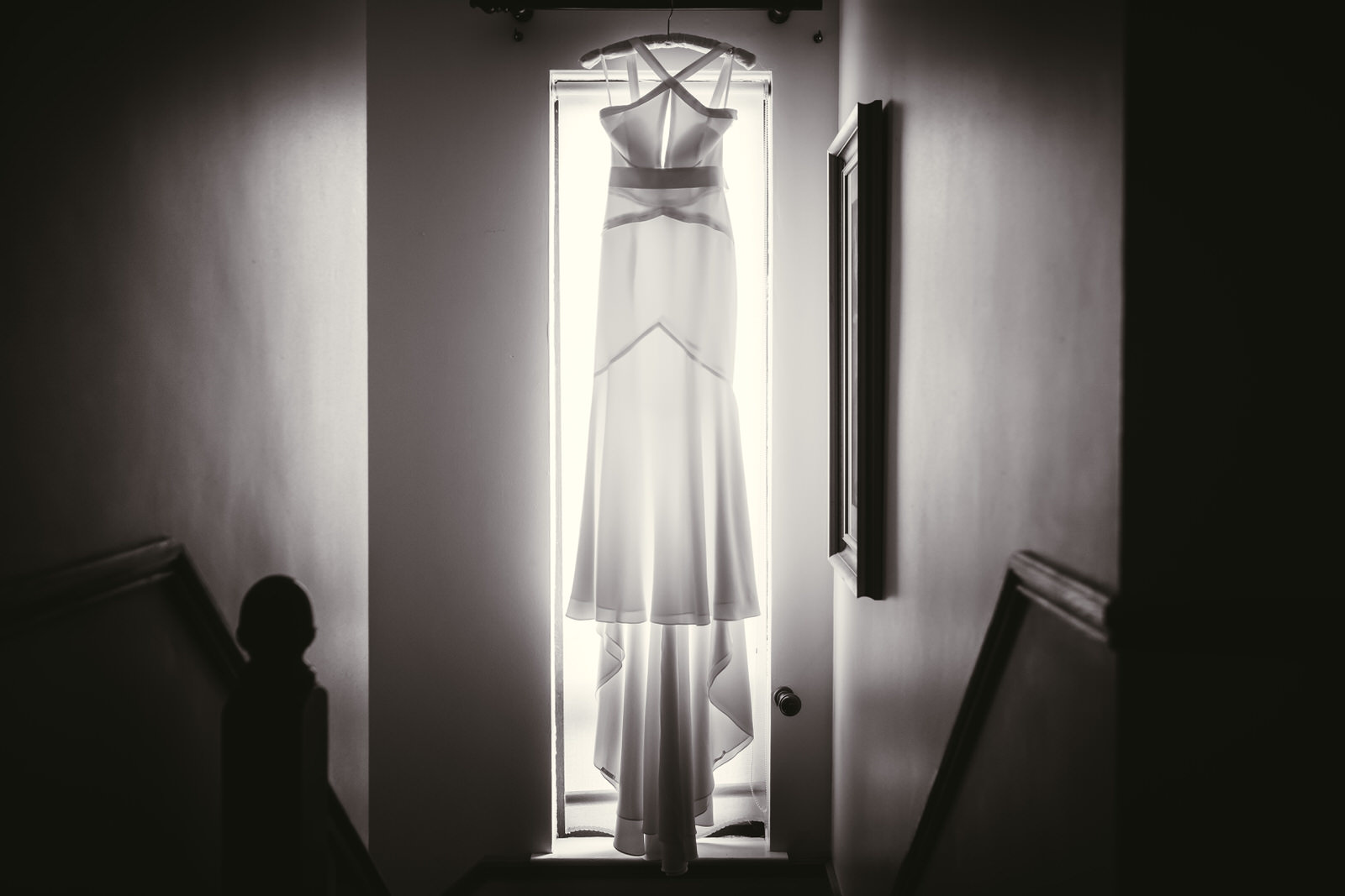 The Wedding Dress in Black and White silhouetted against the window