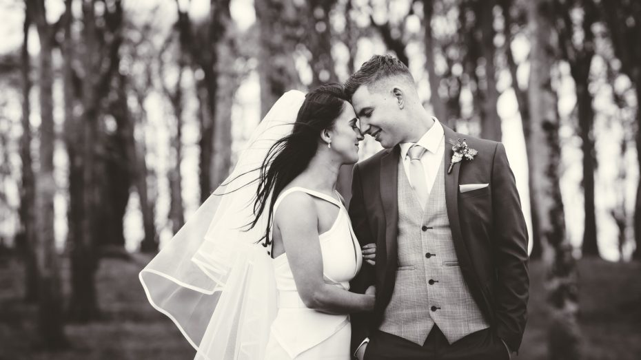 A romantic moment between the bride and groom in Glasson Athlone